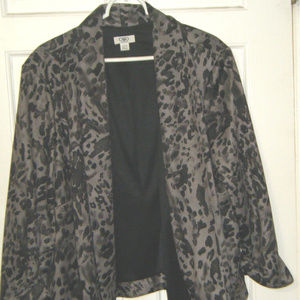 Black and Gray Animal Print Open FrontJacket 22 24
